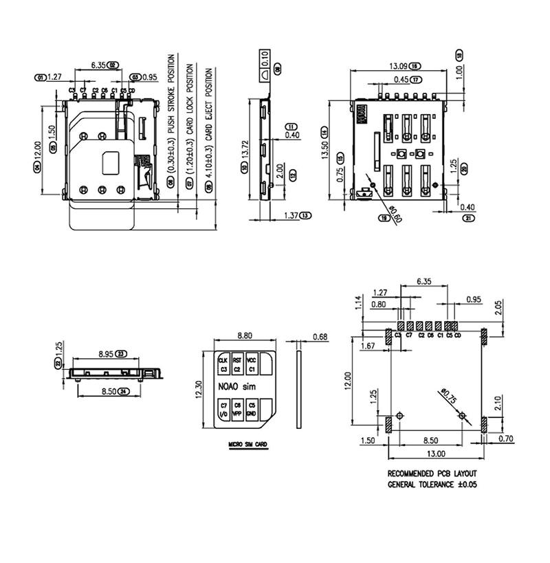 SIM自弹卡座连接器